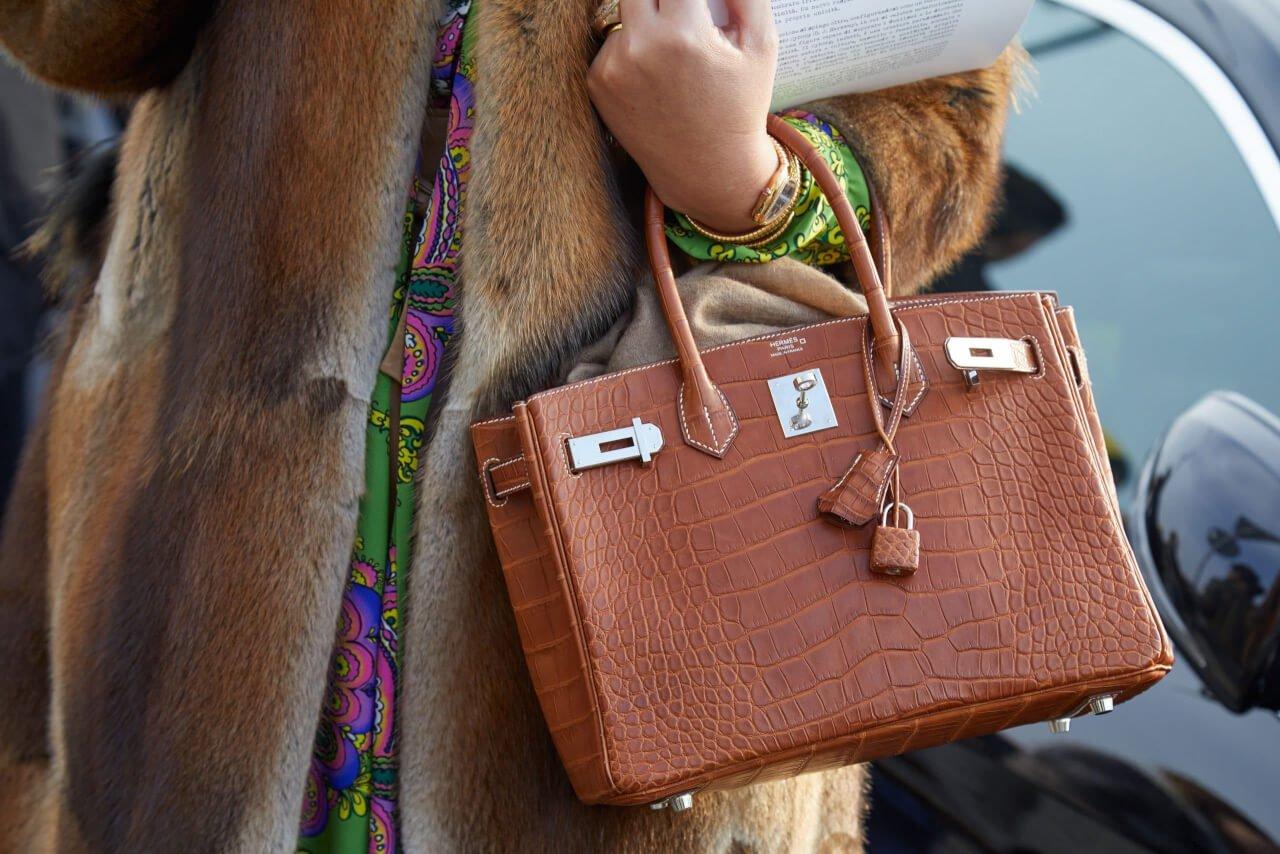 Riconoscere una borsa Hermès originale - brown crocodile leather